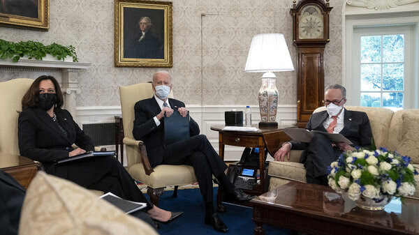 President Biden and Vice President Harris meet with Senate Majority Leader Chuck Schumer and other Democratic senators on Wednesday to talk about Biden's $1.9 trillion COVID-19 relief proposal.