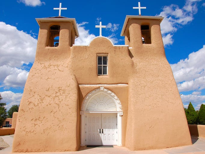 Taos,                                                           N.M., is                                                           famous for its                                                           traditional                                                           adobe                                                           architecture,                                                           with San                                                           Francisco de                                                           Asis Church                                                           standing out                                                             as one of the                                                           most beautiful                                                           and historic                                                           structures.