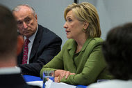 Hillary Clinton met with law enforcement officials in New York on Thursday to discuss policing practices.