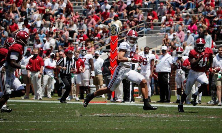 Cameron Latu (No. 81) with a 59-yard TD for Alabama on A-Day