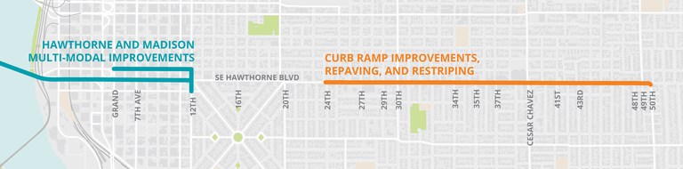 Map showing where improvements are coming to SE Hawthorne Boulevard this year.