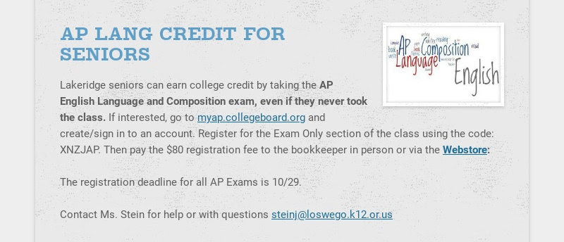 AP LANG CREDIT FOR SENIORS Lakeridge seniors can earn college credit by taking the AP English...