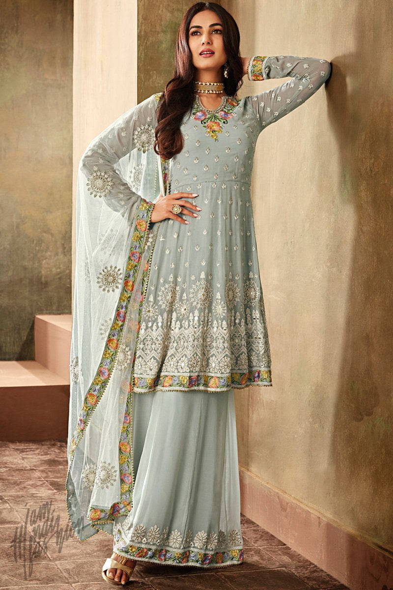 Light Sky Blue Georgette Knee Length Anarkali Suit with Palazzo Pants