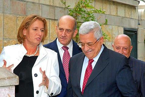 Prime Minister Ehud Olmert, Tzippi Livni and Mahmoud Abbas.
