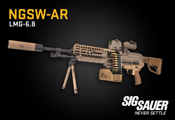 NGSW-AR belt fed light automatic rifle in 6.8mm hybrid 277 fury
