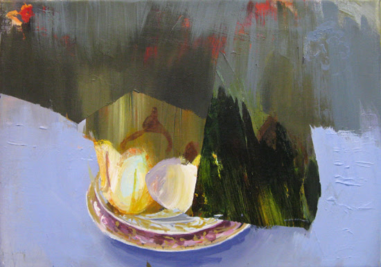 Judith Simonian, Fruit on Blue Table, acrylic on canvas, 8 x 10 inches