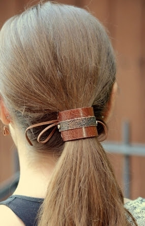 Leather Bun Cuff, Hair Accessories, Ponytail Cuff - Girlfriend Gift for her - 3rd Anniversary Leather For Her - Birthday Gift for Girlfriend