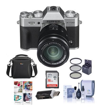 X-T20 24.3MP Mirrorless Digital Camera with XC 16-50mm f/3.5-5.6 OIS II Lens, silver - Bun