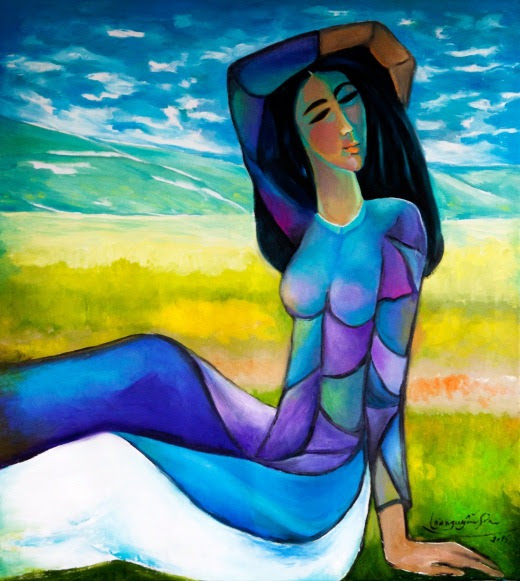 Ngóng chờ. Tranh sơn dầu trên bố by Nguyễn Sơn