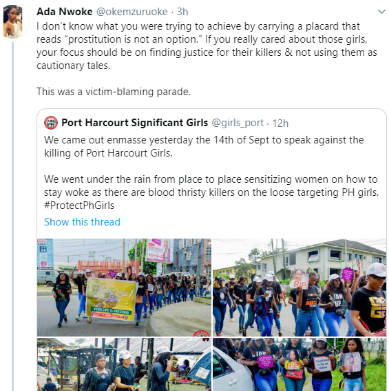 Outrage on Twitter as women protesting the Port Harcourt serial killings carry placard blaming the victims found dead in hotels