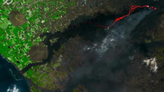 Veja as imagens satélite dos rios de lava chegando ao mar em La Palma