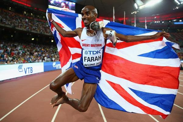 Mo Farah celebrates his 5000m victory at the IAAF World Championships, Beijing 2015 (Getty Images)