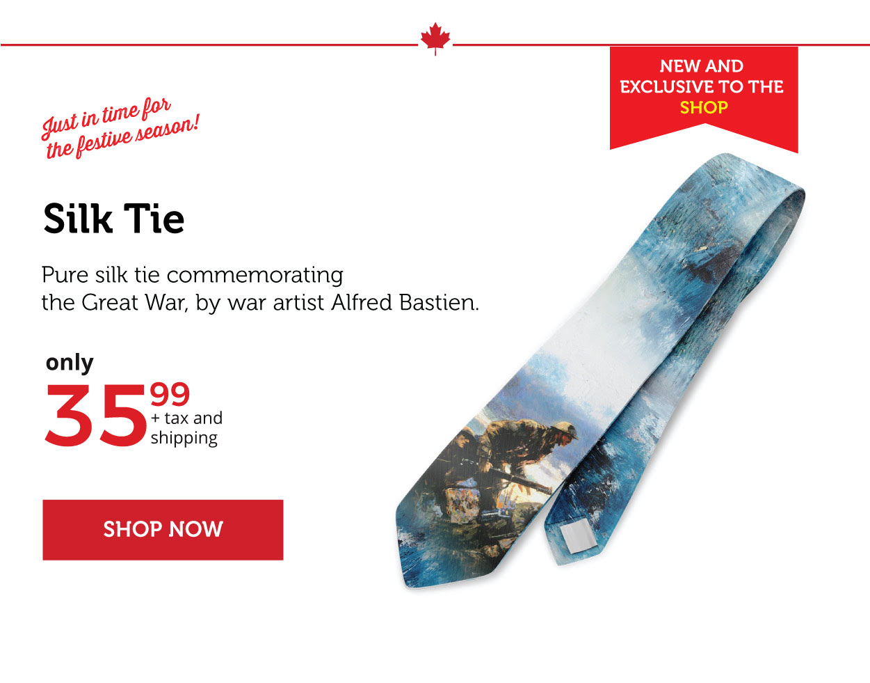 Silk Tie - Commemorating Canada and the Great War