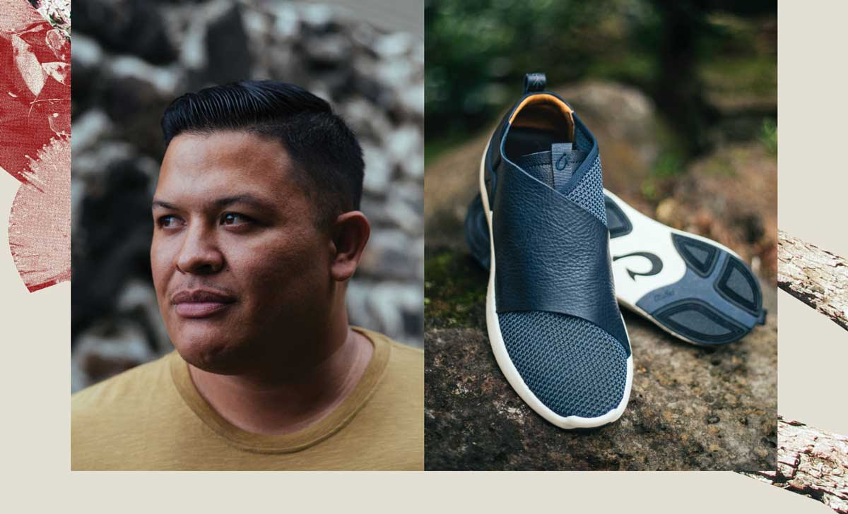 Headshot of designer Matt Bruening. Image of Kilipue men's sneaker.