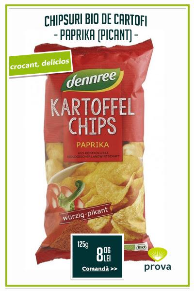 Chipsuri bio de cartofi cu paprika, 125g - Dennree