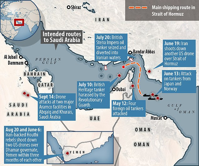 Tensions are running high in the region after attacks in June and July on oil tankers in Gulf waters that Riyadh and Washington blamed on Iran