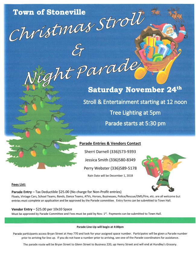 Stoneville Christmas Stroll & Night Parade