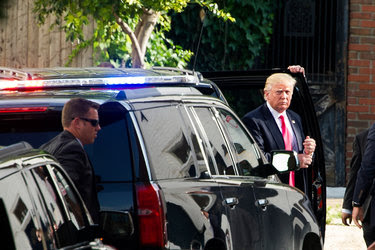 Donald J. Trump arrived to meet with other Republicans at the Capitol Hill Club in Washington on Thursday.