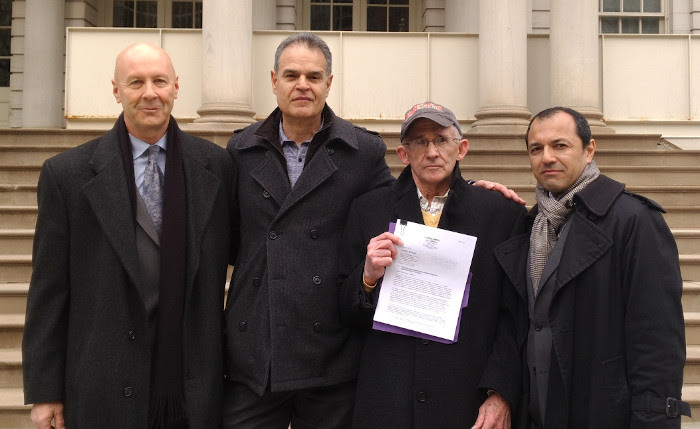 David Meiswinkle, Esq., Les Jamison, Bob Mcilvaine holding copy of Grand Jury Petition, Julio Gomez, Esq. on steps of NYC Hall after submitting Petition to the United States Attorney's Office. on April 10, 2018