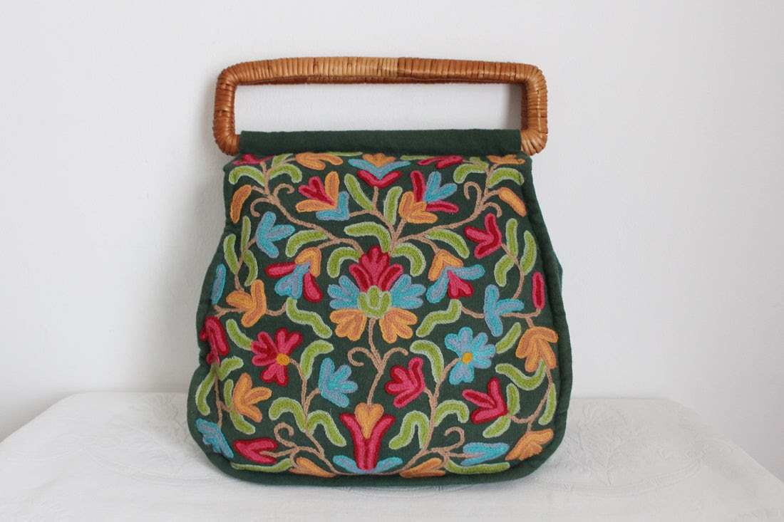 VINTAGE CREWEL EMBROIDERY BAG
