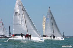 J/111s sailing on Solent off Cowes, England