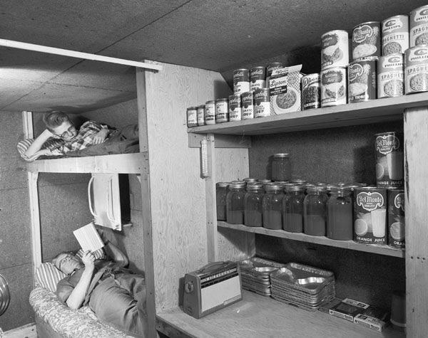 """Fallout shelter built by Louis Severance adjacent to his home near Akron, Mich.,..."""