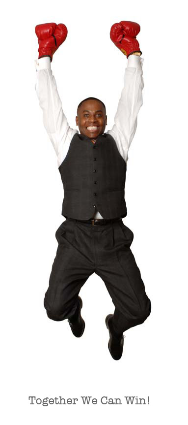 Photo of Dr. Adolph Brown jumping with text,''Together We Can Win!''