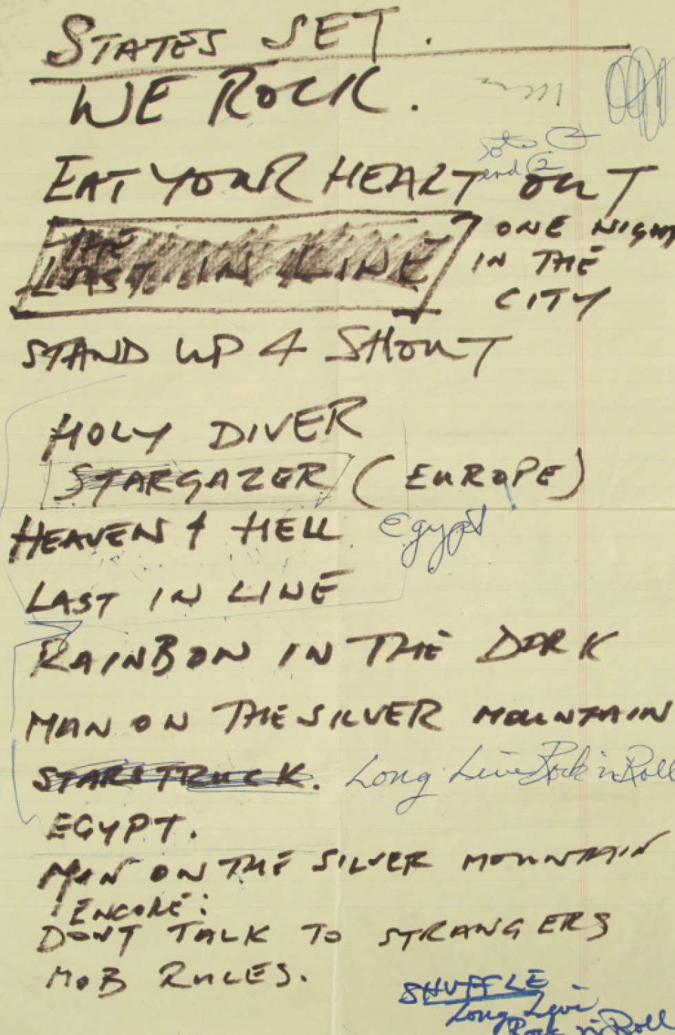 DIO HANDWRITTEN SET LIST
