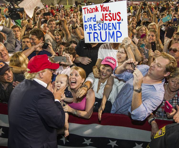 Donald Trump greets supporters after his 2015 rally in Mobile, Ala. (Mark Wallheiser/Getty Images)