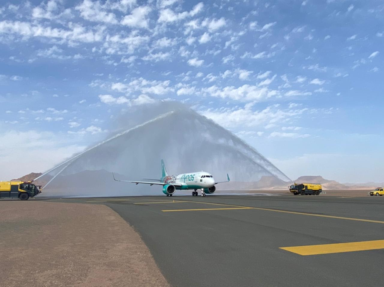 Water Salute of the inaugural flight of flynas in AlUla International Airport.jpeg