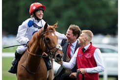 THANKS FOR THE MEMORIES: Charlie Fellowes and Hayley Turner relish the moment with Thanks Be after her June 21 Sandringham Stakes score at Royal Ascot