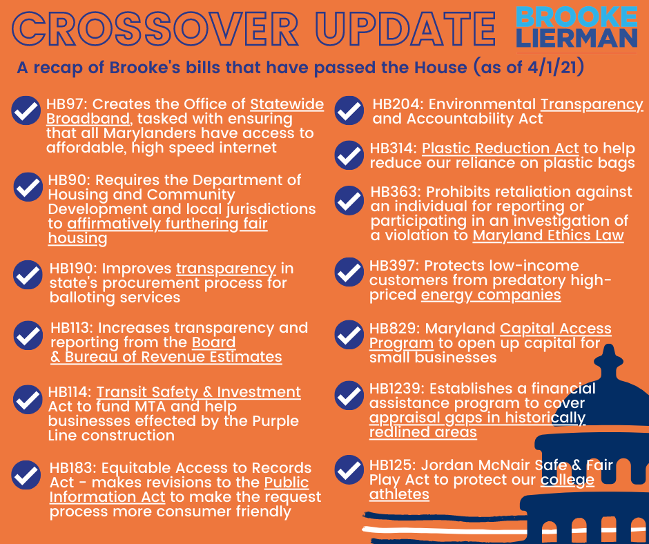 Image lists the bills that Brooke got through crossover, including HB 97 to create an office of statewide broadband