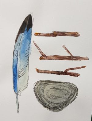 painted card of feather, sticks, and a rock