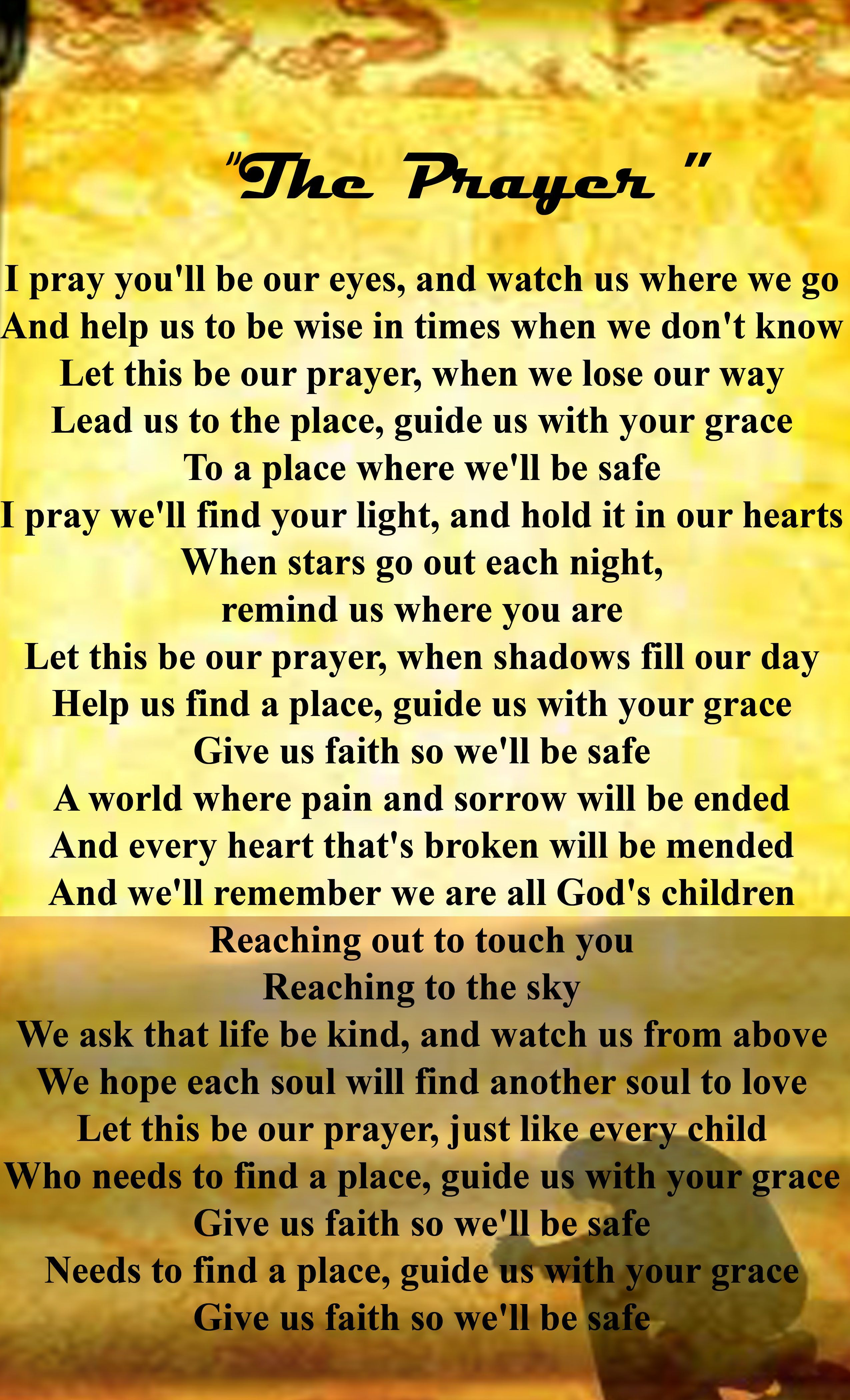 """The Prayer"" lyrics -- duet by Celine Dion & Andrea Bocelli The Prayer Lyrics, Our Father Lyrics, Great Song Lyrics, Music Lyrics, Love Songs, Music Songs, My Music, Gospel Song Lyrics, Virginia"