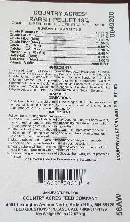 Photo 10: Nutritional Information, Country Acres Rabbit Pellet 18%