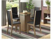 Conjunto de Mesa com 4 Cadeiras Estofadas