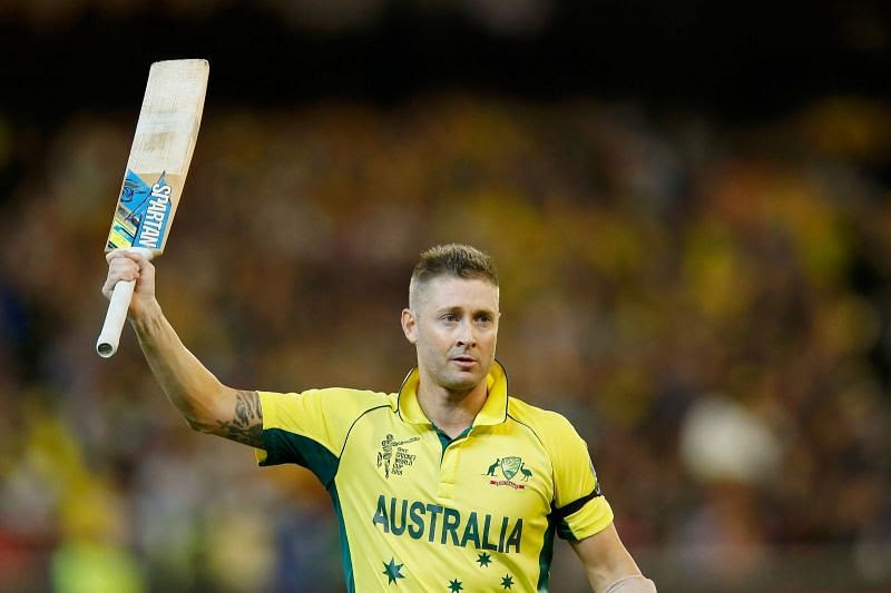Michael Clarke raises his bat during the World Cup 2015
