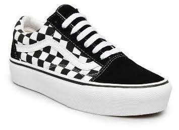 Vans Old Skool Platform Sepatu - Checkerboard Black/True White