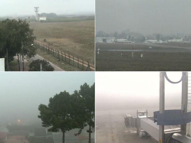 Região do aeroporto tem condiçõs propícias à formação de neblina (Foto: Reprodução/ RPC TV)