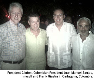 July 4th Clinton, Juan Manuel Santos, Frank Holmes, Frank Giustra in Cartagena, Colombia