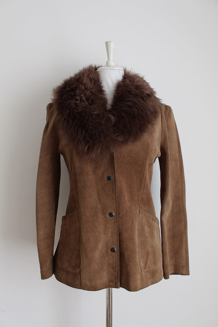 GENUINE SHEEPSKIN SUEDE VINTAGE LEATHER JACKET - SIZE 8