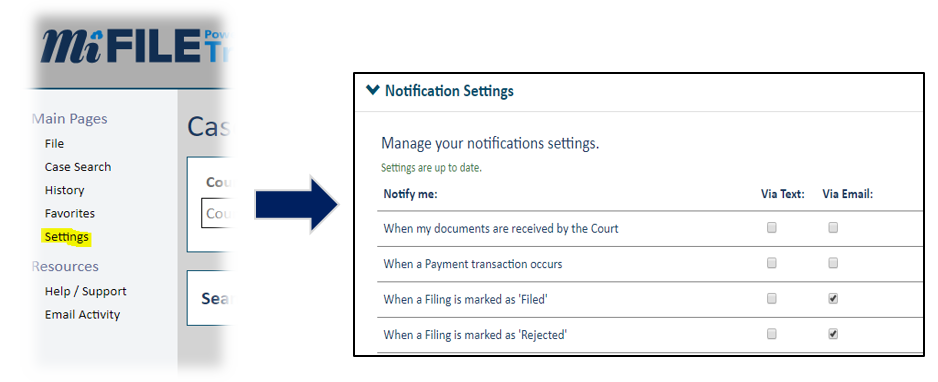 filer notification settings