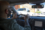 Mike Isaac test-drives an Uber driverless car on the streets of Pittsburgh on Monday, two days before the start of Uber's pilot program.