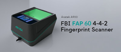"""The ARATEK A900 is the FBI Appendix F FAP 60 certified ten print 4-4-2 live fingerprint scanner built for the toughest and most massive of jobs. This IP65 rated portable unit comes a built-in 2.8"""" LCD screen plus a speaker which combine to give users a step-by-step audio-visual walkthrough of the entire enrollment, verification & identification processes."""