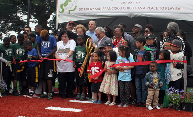 ribbon cutting ceremony with Mayor Lee at the new athletic field at Minnie and Lovie Ward Rec Center