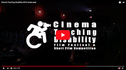 CTD FF promo video still: Cinema Touching Disability logo superimposed over a theater with fading lights.