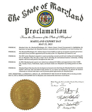 Maryland Export Day Proclamation