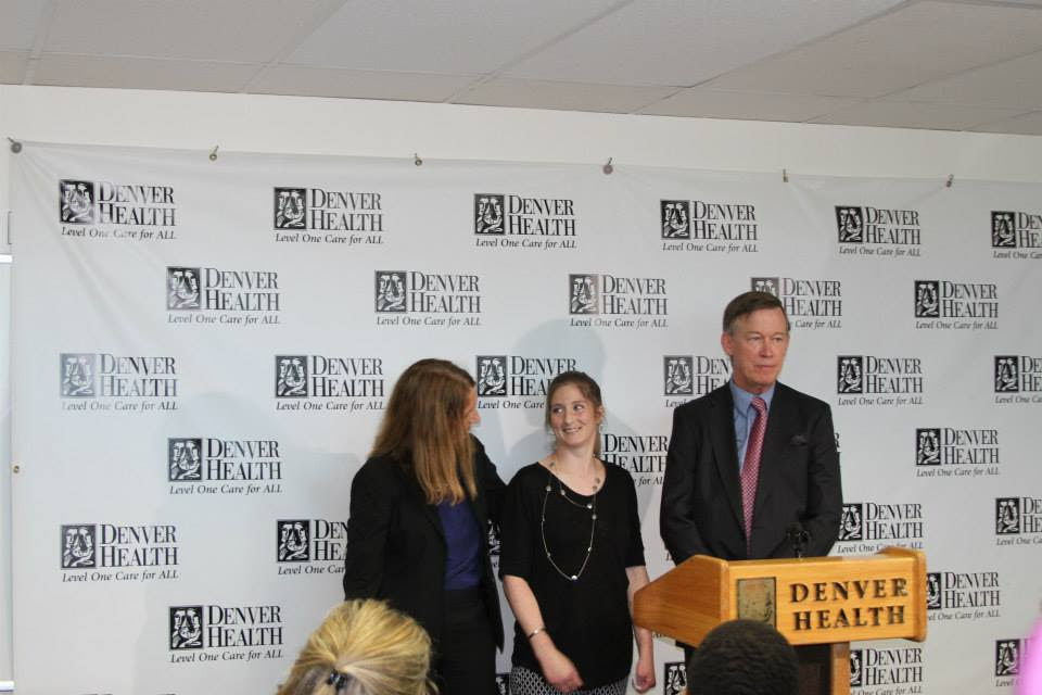 Blair Hubbard joins HHS Secretary Sylvia M. Burwell and Colorado Governor John Hickenlooper for an event at the Denver Health Medical Center