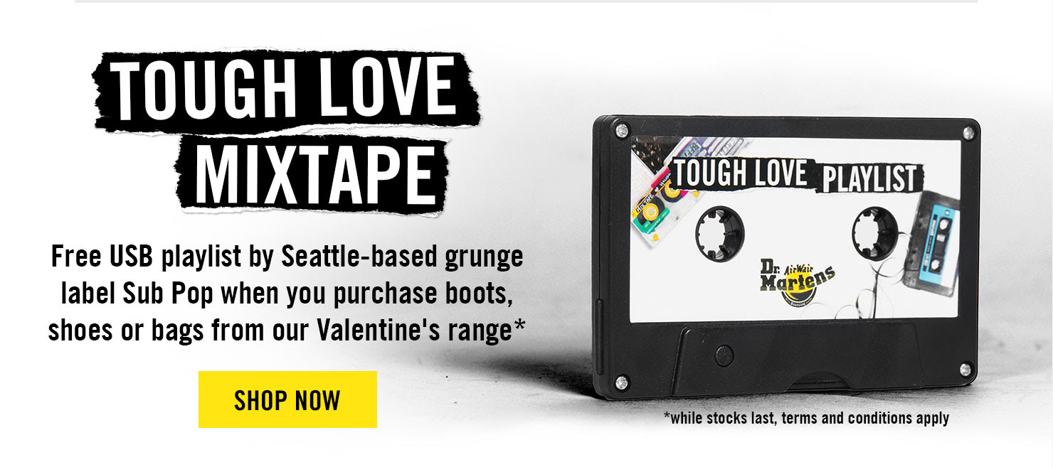 THE TOUGH LOVE MIXTAPE - Free USB playlist by Seattle-based grunge label Sub Pop when you purchase boots, shoes or bags from our Valentine's range - Shop Now
