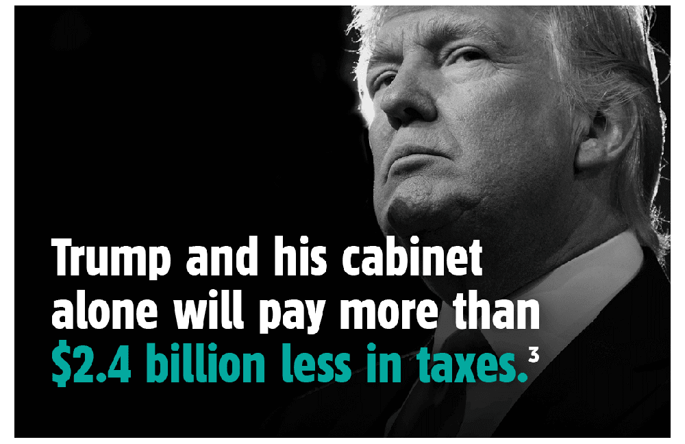 Trump and his cabinet alone would pay more than $2.4 billion less in taxes.